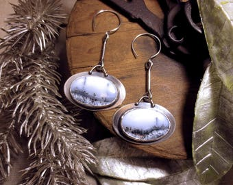 Hush- Dendritic Agate and Sterling Silver Earrings
