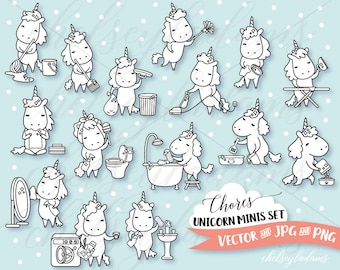 Chores Unicorn Digital Stamps Set, Planner Digi Stamps, Vector Graphics, Cute, Chibi, Commercial Use DIY Planner Sticker Clipart, Kawaii