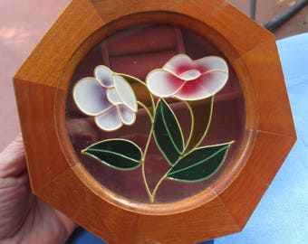 Vintage Farrington Stained Glass Flower Wood Hexagon Jewelry Box