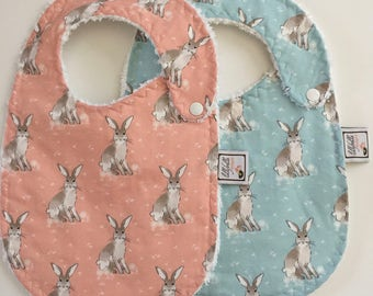 hare day in aspen blue or quartz pink  ~ baby bib ~ cottontail collection ~ hawthorne threads ~ bunny baby bib from lillybelle designs
