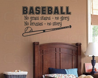 Sports Baseball Wall Decal - Boys Room Decor - Childrens Decor - Vinyl Wall Art - Vinyl Lettering -  28x16 MED