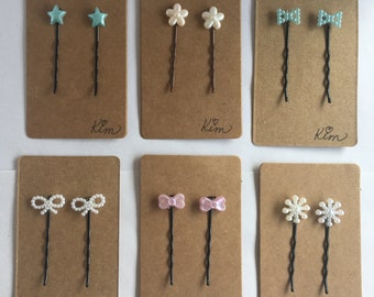 Cute bows, starlets and snow snowflakes her pins