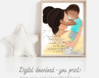 INSTANT DOWNLOAD Mother and Son Art Print, Boys Room Decor, Kid's Room, Wall Art Print Gift, New Baby, Gift for Wife, Mother's Day Gift