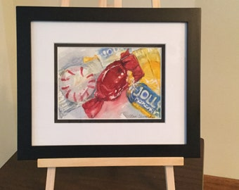 Original watercolor wall painting of Candy