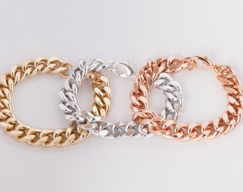 Bracelet  Curb Chain Gold Rosegold Or Silver Plated Chunky Curb Bracelet