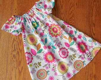 Girl's Toddlers Vintage Floral Peasant Dress