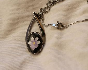 Patricia Whitchurch - Hand Painted - Porcelain - Necklace - Silver Toned