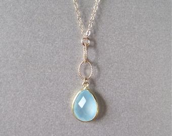 Aqua Chalcedony Drop Necklace