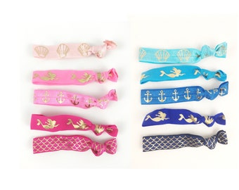 Mermaid Party Elastic Hair ties - Individual ties for favor add on - gold foil memaid, anchor, seashell, and fish scales -mermaid favors