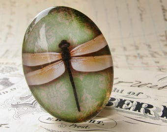 Yellow dragonfly with green wallpaper, 40x30mm or 25x18mm, glass oval cabochon, handmade in this shop, winged Wonders collection