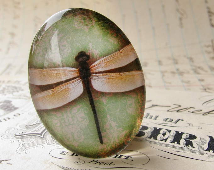Yellow dragonflies with green wallpaper, 40x30mm or 25x18mm, glass oval cabochon, handmade in this shop, winged Wonders collection
