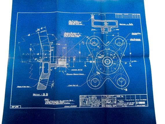 Large 1938 antique blueprint vintage airplane blueprint like this item malvernweather Choice Image