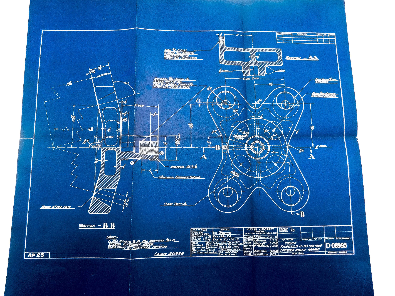 Large 1938 antique blueprint vintage airplane blueprint zoom malvernweather Image collections