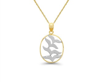 "14k solid gold two tone flock of birds pendant on an 18"" gold chain."