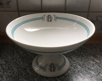 Antique French Country Porcelain Ironstone Serving Dish, Monogram, Aqua or Teal Blue on White Romantic Cottage Chic, Paris Footed Compote
