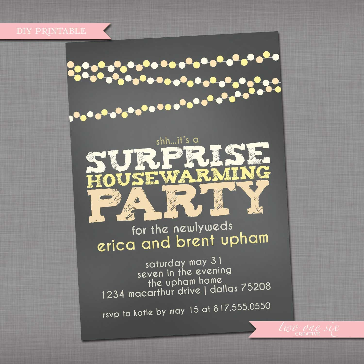 Chalkboard String Lights Surprise Party Invitation