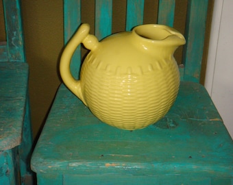 Ball Pitcher Lemon Yellow Basket Weave Design