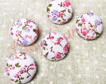 5 large buttons 22 mm Handmade fabric flowers / #7141