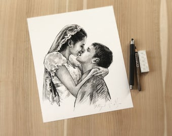wedding gifts personalized gifts for women Custom gifts for women Wedding gifts for couple Personalized couple Housewarming gift Drawing Art