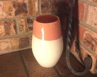 DISCOUNT - Terra Cotta and White Blown Glass Vase.  Seconds Hand Blown Glass Vase.  Southwest Decor.