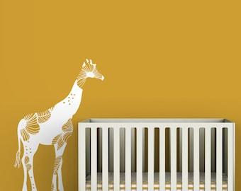Baby Floral Giraffe Wall Decal - White decal - Bold floral - Modern baby nursery - Yellow, orange, white, beige, safari theme.