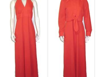 1970s Maxi Dress Long Red Dress Maxi Dress & Jacket Long Summer Dress 70s Red Maxi Dress Red Halter Dress Long Halter Dress Red Party Dress