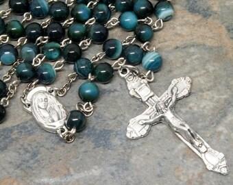 Gemstone Rosary of Dark Green Banded Agate, 5 Decade Rosary, Catholic Rosary, Sacred Heart