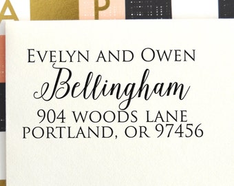 Calligraphy Return Address Stamp | Custom Address Stamp | Self Inking Address | Custom Rubber Stamp | Personalized Stamp | Script, No 28