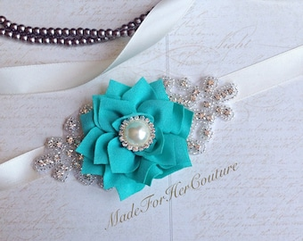 Bridesmaid Sash, Bridesmaid Belt-Flower Girl Sash, Flower Girl Belt, Aqua Green Flower girl belt