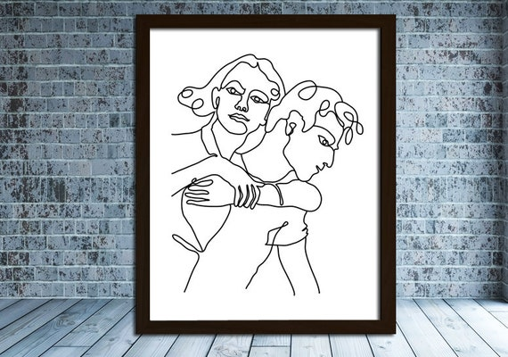 Single Line Art Print : One line art of a couple abstract man woman picasso style