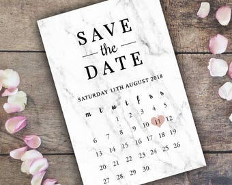 Save The Date Invitations Personalised Cards / Printable Wedding Invite / Marble / Modern / Minimal / Marriage / PDF Digital