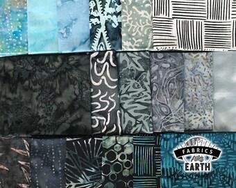 Timeless Storm Batik 18 Fat Quarter Bundle - Grey Blue Quilting Fabric