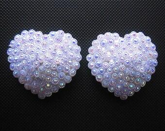 Moonlight Affair bridal pasties Heart nipple covers Flower shaped AB rhinestone tassels Erotic lingerie Custom made lingerie