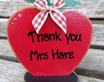 THANK YOU TEACHER personalised, free-standing, wooden apple desk ornament. Hand-painted. Ideal end of term gift for your favourite teacher