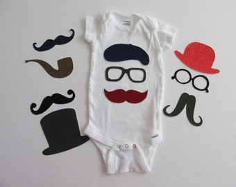 Hipster Baby Iron On Appliques for Baby Shower Craft Station/Baby Shower Activity