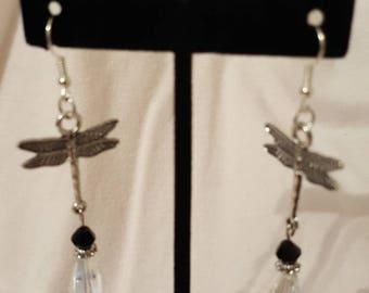 Beaded dragonfly dangle earrings handmade