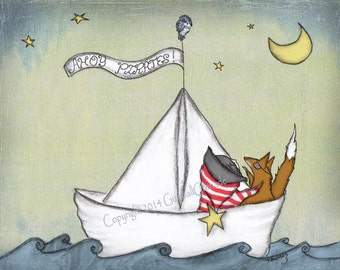 Art Print, Boy Nursery Art, Pirate, Nautical, Boy, Fox, and Paper Boat 8 x 10 inch art print