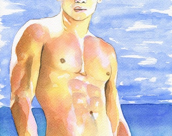 "Print of Original Artwork Watercolor Painting Erotic Male Man Nude Gay ""Warmly"""