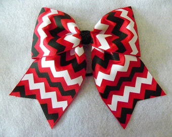 Red Black and White Chevron Hairbow