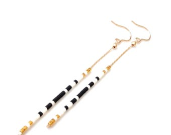 Simple Gold Chain Ear Thread Earrings Long Thin Earrings Extra Long Earrings Minimal Earrings Long Gold Dangle Earring