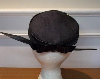 Vintage 1960's  Black Hat w/Vinyl Trim &  Feather