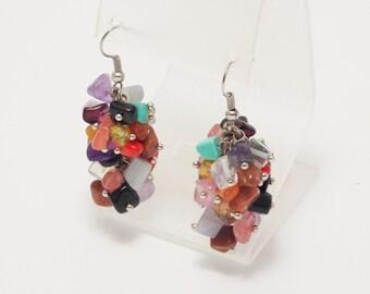 Stones earrings amethyst earrings beaded earrings statement earrings summer earrings gemstone earrings rainbow jewelry gem earrings for mom