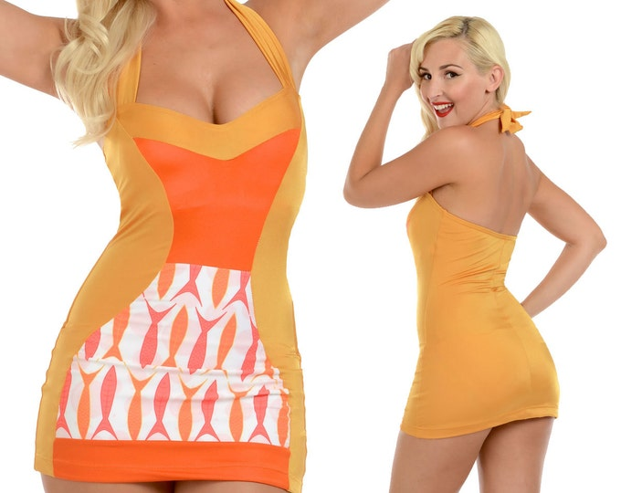 Tori Halter Swimsuit Swim Dress in Orange Fish Print XS ONLY