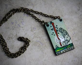 Ace of Wands • Minor Arcana • Vintage tarot card necklace