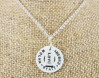 Round Washer-Style & Tag Necklace; Sterling Silver; Hand-Stamped; Custom