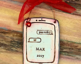 Personalized Emoji / LOL / Text Me / iphone / Android / Cell Phone / Smart Phone Polymer Clay Ornament