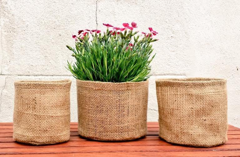 Set of 3 or single round jute pot luxury gardening bag extra zoom workwithnaturefo