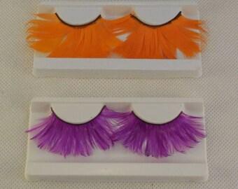 A pair of sharp orange or purple feathers false eyelashes Reusable false eyelashes extension