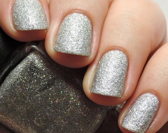 Silver Pearl Sand - Indie Nail Polish - Textured Silver Holographic Glitter
