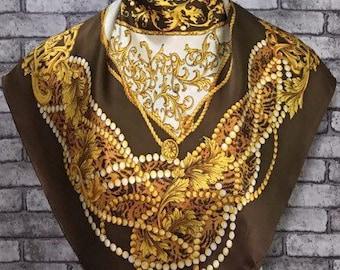 "Free post Authentic Tie rack   silk scarf (33""x34"")T 1500"